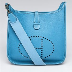 Auth Hermes Evelyn II GM Bag in Blue Jean color